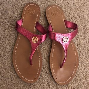 Tory Burch Pink Thong Patent Calf Sandals